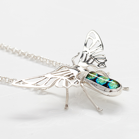 "A sterling silver necklace ""moth"" with dichroic glass. ru runeberg 2019."