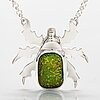"A sterling silver necklace ""gold beetle"" with dichroic glass. ru runeberg 2019."