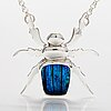 "A sterling silver necklace ""blue beetle"" with dichroic glass. ru runeberg 2018."