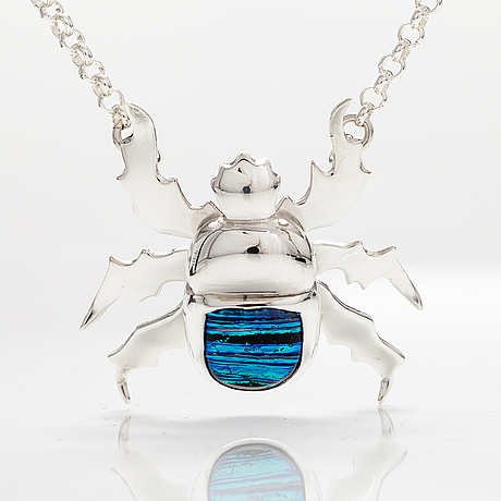 "A stelring silver necklace ""scarab"" with dichroic glass. ru runeberg 2019."