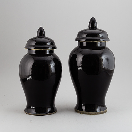 Two jars with cover, modern, 21st century.