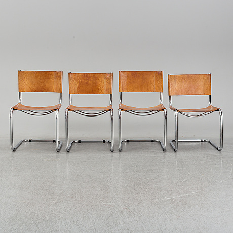 Four fasem tubular steel chairs, italy, 1983.