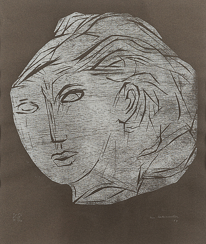 Ina colliander, wood cut, signed and dated -64, numbered tpl'a i-iii, iv 6/10.