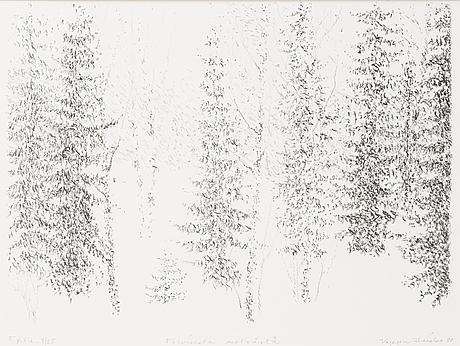 Vappu heiska, litografia, signeerattu ja päivätty -80, numeroitu tpl'a 8/25.