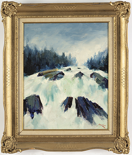 Axel lind, oil on canvas, signed.