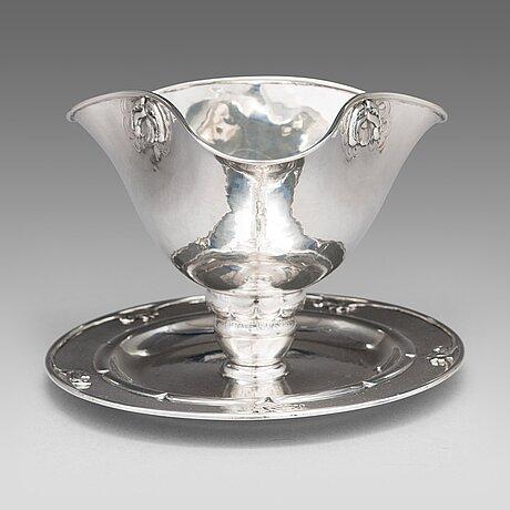 Georg jensen, a silver sauce bowl, design nr. 328, copenhagen 1919. swedish control marks, gabf.