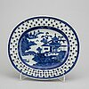 Three blue and white dishes, qing dynasty, 18th century.