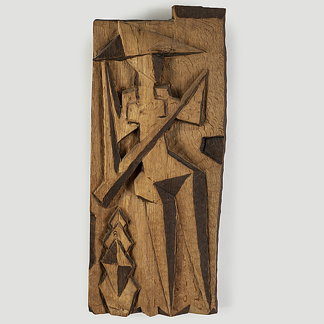 Carl-einar borgstrÖm, wall relief, carved wood, signed and dated -42.