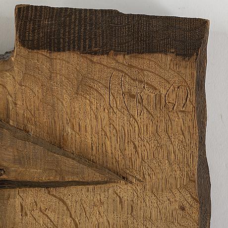 Carl einar borgstrÖm, väggrelief, trä, signerad och daterad -42.