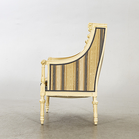 A late 19th century louis xvi style bergère.