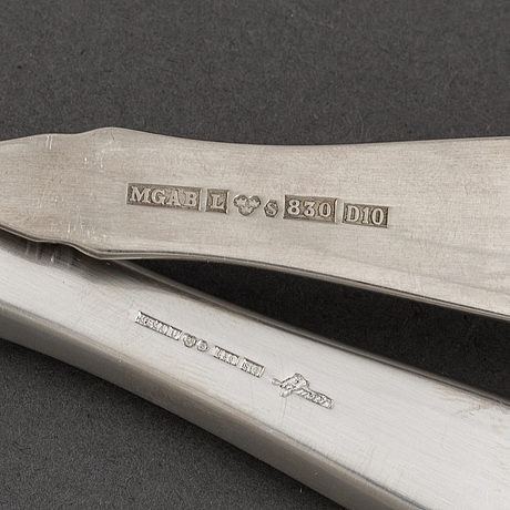 """A erik löfman part silver cutlery set, """"uppsala"""", marked mema."""