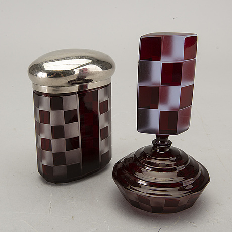 Edward porsch, a set of bottle and jar with lidbohemia 1940 signed.