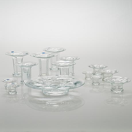 """Kerttu nurminen, fourteen glass candle sticks """"lumme"""" (waterlily). nuutajärvi."""