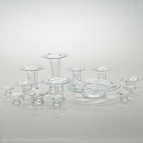 """Kerttu nurminen, fifteen glass candle sticks """"lumme"""" (waterlily). nuutajärvi."""