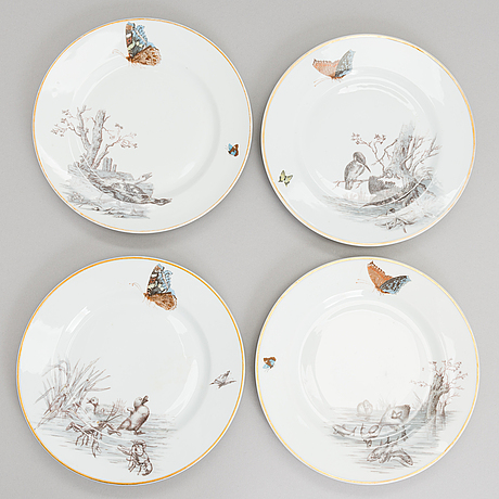 Set of eight russin porcelain plates for kornilov brothers 1884-1917.
