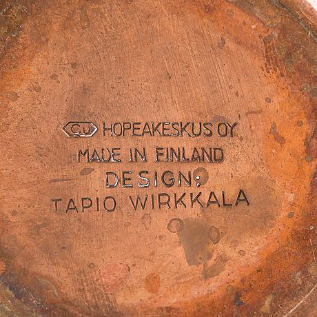 Tapio wirkkala, kaffeservis, 4 delar, koppar och teak, tw 163/164, kultakeskus, 1960-70-tal. formgiven 1961.