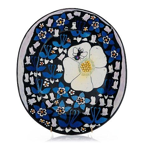 Birger kaipiainen, a stoneware decorative dish signed kaipiainen.