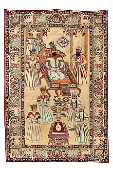 A rug, an antique Kerman Laver figural, ca 204-205 x 138,5-139 cm (as well as ca 0,5 cm flat weave at the the ends).