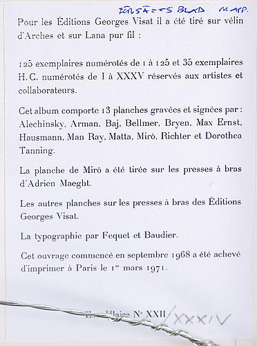 Joan miró, etsning med akvatint, signerad samt numrerad xxii/xxxiv.