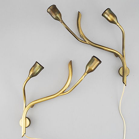 A pair of astra brass wall lamps, mid 20th century.