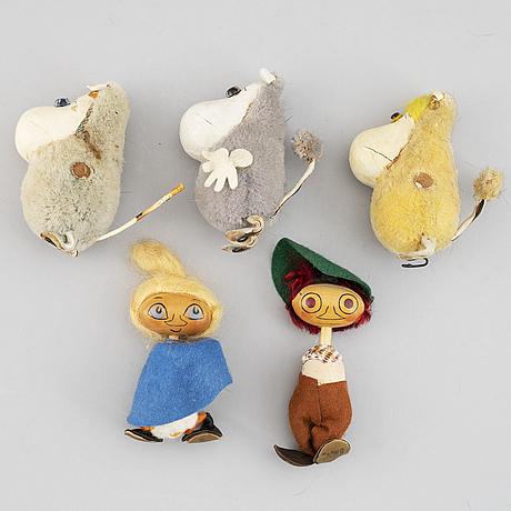 Atelier fauni, muminfigurer 10 st, finland, ca 1950-60-tal.