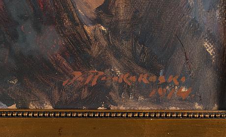 Jalmari ruokokoski, öljy levylle, signererattu ja päivätty 1914.