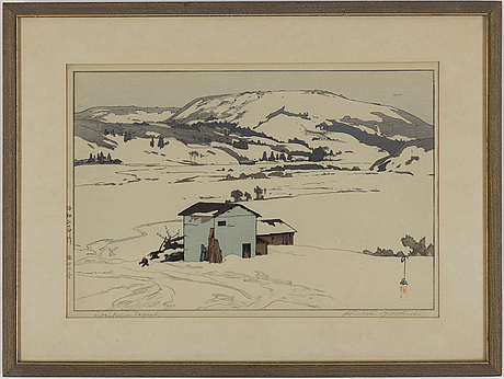 Yoshida hiroshi (1876-1950), after, a colour woodblock print, japan, 20th century.