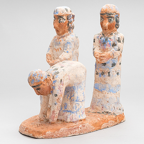 Milja aarnio, a painted terracotta sculpture signed and dated ma -87.