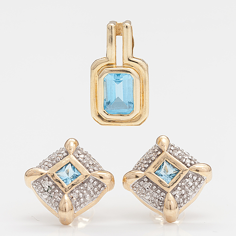 A set of 14k gold earrings and pendant with topazes and diamonds ca. 0.04 ct.