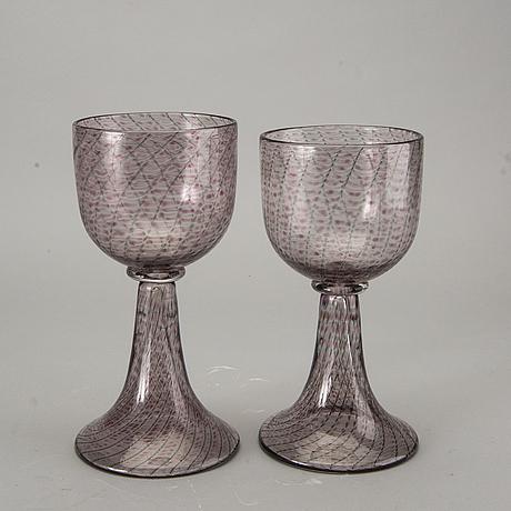 Kerttu nurminen, glass, two cups, signed, nuutajärvi notsjö.