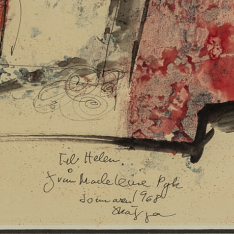 Madeleine pyk, mixed media on paper, signed and dated 1968.