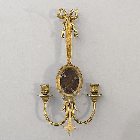 VÄggappliquer. ett par, mässing och brons, louis xvi-stil,1900-talets första hälft.
