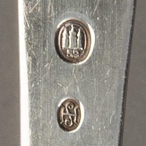 Cutlery, 33 pcs, silver, h c andersen motifs, denmark mid 20th century, 631g.