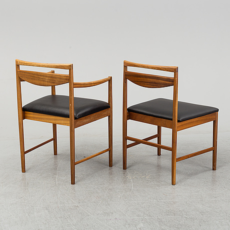 A set of two armchairs with four chairs, late 20th century.