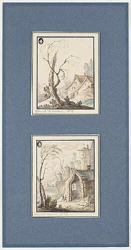 Unknown artist 17th century. with text: 'daniel de malinas'. (2). watercolour and inkwash 12 x 9.5 cm.