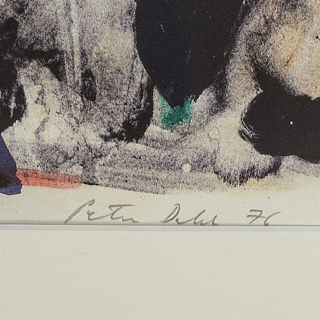 Peter dahl, lithograph in colours, 1976, signed provtryck.