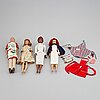 A set of four 1960's mattel barbie dolls with accessories.