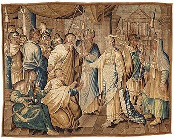 """232. Vävd tapet, """"Drottningen av Saba"""", gobelängteknik, ca 224-229 x 289-291, Flandern 1600-tal."""