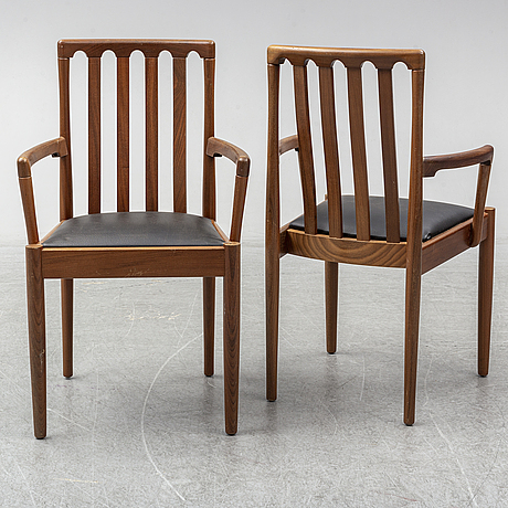 Two armchairs with four chairs, meredew avalon, late 20th century.