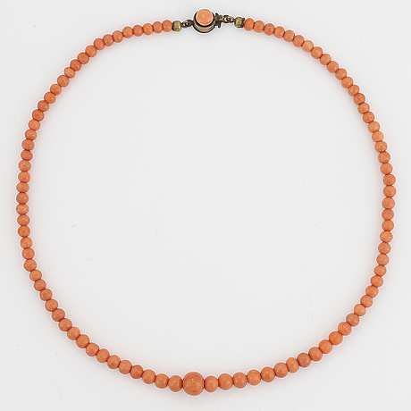 Coral bead necklace.