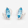 A pair of 14k white gold earrings with topazes and diamonds ca. 0.10 ct in total.