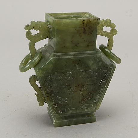 An 20th century  chinese green stone  vase.