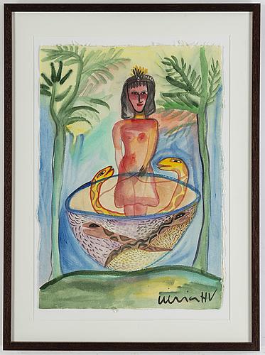 Ulrica hydman-vallien, watercolor on paper, signed ulrica hv.