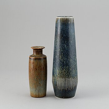 CARL-HARRY STÅLHANE, two stoneware vases, Rörstrand.