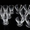 Vicke lindstrand, a 16-piece 'iced' glass service, orrefors.