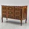A french chest of drawers, mid 18th century.