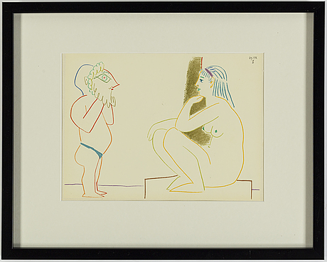 Pablo picasso, efter, färglitografi, ur verve 29-30, tryckt hos mourlot, paris 1954, daterad i trycket.