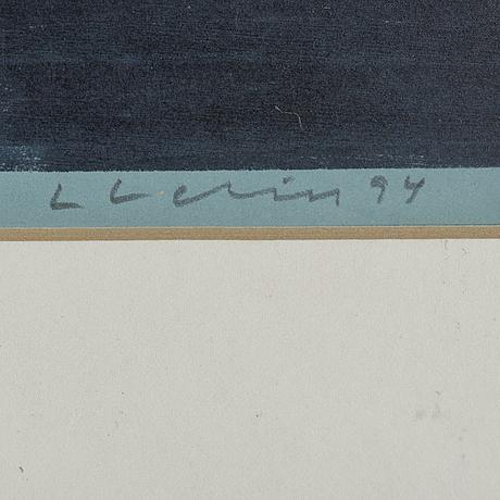 Lars lerin, träsnitt, ur mostrarnas tid, signerat och daterat -94. numrerat 1/15 e.t.
