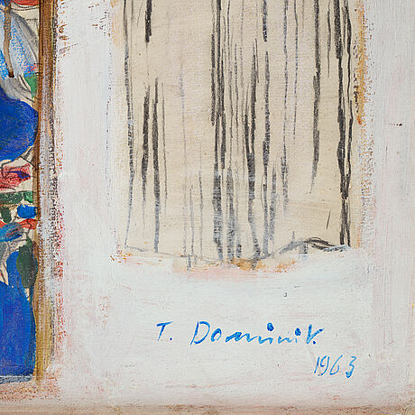 Tadeuzs dominik, oil on board, signed and dated 1963.