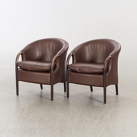A pair of easy chairs stouby second half of 20th century.